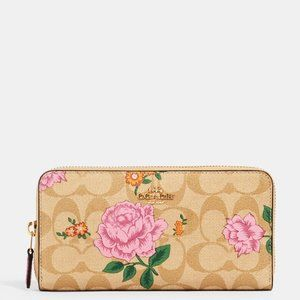 NWT COACH ROSE PRAIRIE SIGNATURE ZIP WALLET FLORAL